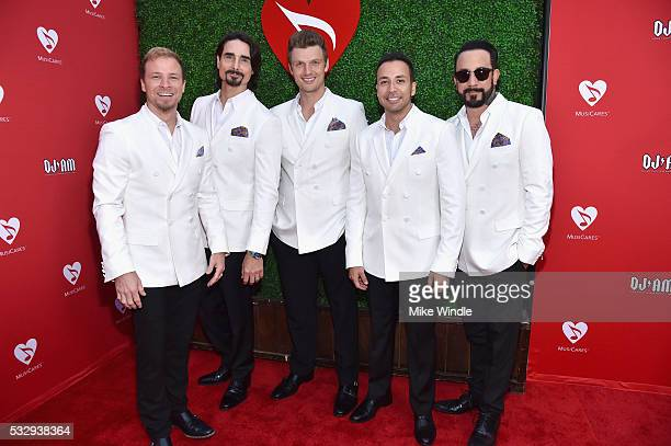 Singers Brian Littrell Kevin Richardson Nick Carter Howie Dorough and AJ McLean of Backstreet Boys attend the 12th Annual MusiCares MAP Fund Benefit...
