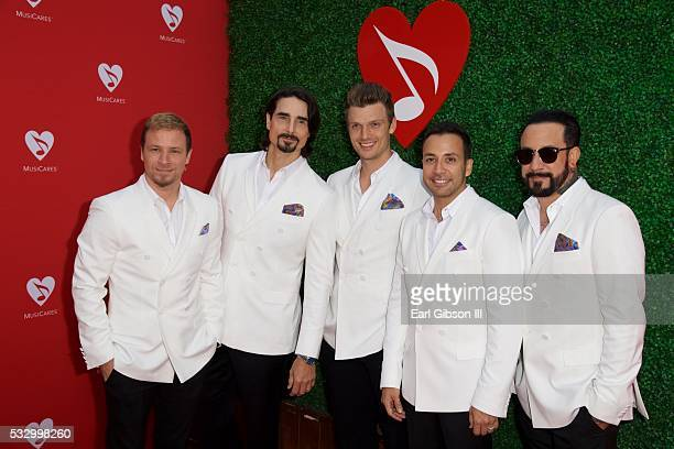 Singers Brian Littrell Kevin Richardson Nick Carter Howie Dorough and AJ McLean of Backstreet Boys attend the 12th Annual MusiCares MAP Fund Tribute...