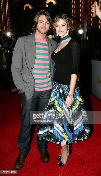Singers Brian McFadden and girlfriend Delta Goodrem arrive at the inaugural MTV Australia Video Music Awards at Luna Park on March 3 2005 in Sydney...