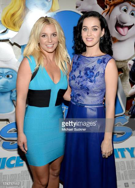 Singers Britney Spears and Katy Perry attend the Los Angeles premiere of 'The Smurfs 2' at Regency Village Theatre on July 28 2013 in Westwood...