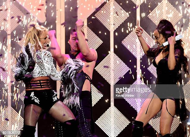 Singers Britney Spears and Tinashe perform onstage during 102.7 KIIS FM's Jingle Ball 2016 presented by Capital One at Staples Center on December 2,...