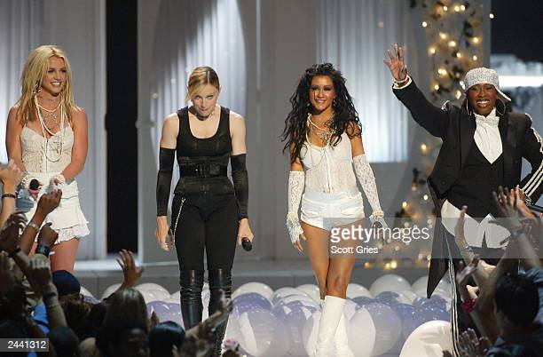 Singers Britney Spears Madonna Christina Aguilera and Missy Elliot perform onstage during the 2003 MTV Video Music Awards at Radio City Music Hall on...