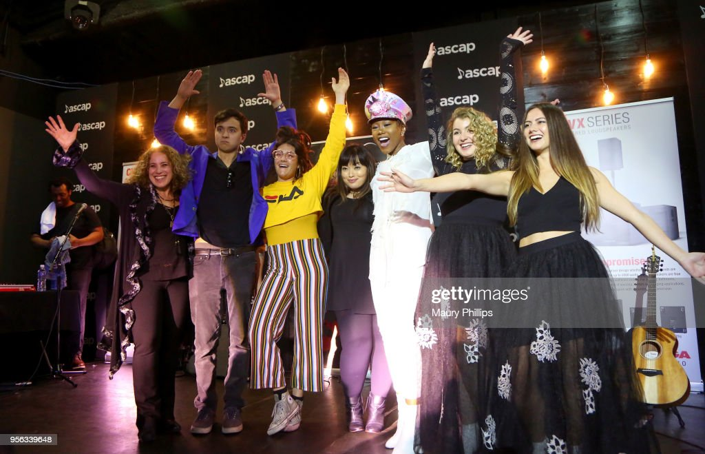 Singers Brittany Pfantz, Charles Calvet, Melissa Polinar, Priscilla Renea, Haley Gold and Spencer Bryant perform at the 'She Rocks' Showcase Presented by the Women's International Music Network during The 2018 ASCAP 'I Create Music' EXPO at Loews Hollywood Hotel on May 8, 2018 in Hollywood, California.