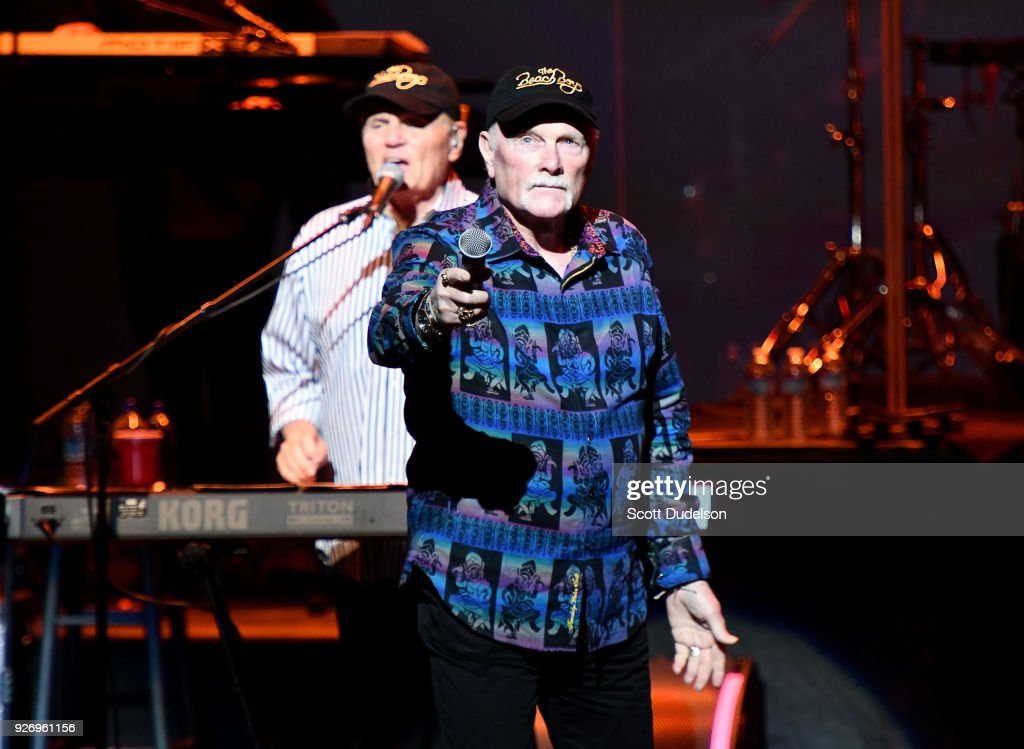 Singers Bruce Johnston (L) and Mike Love (R) of the Beach Boys perform onstage at Fred Kavli Theatre on March 3, 2018 in Thousand Oaks, California.