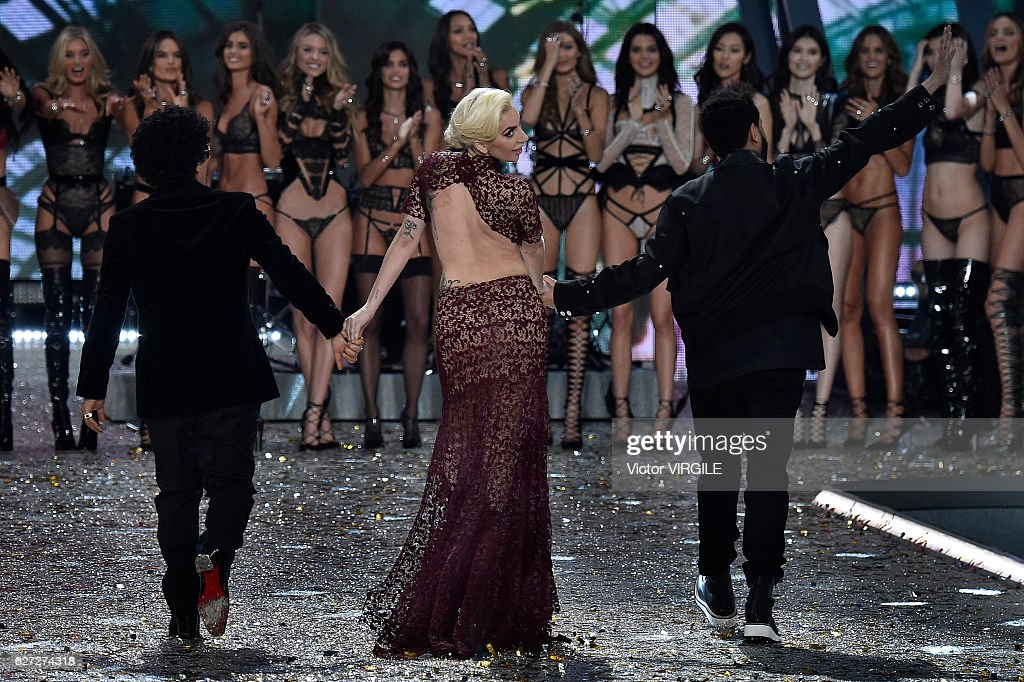 Singers Bruno Mars, Lady Gaga and The Weeknd during the 2016 Victoria's Secret Fashion Show on November 30, 2016 in Paris, France.