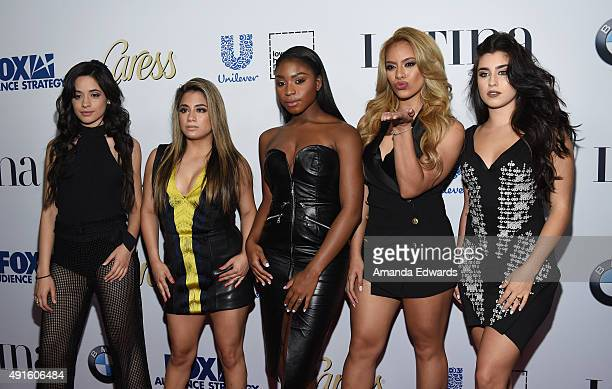 Singers Camila Cabello, Ally Brooke Hernandez, Normani Kordei, Dinah Jane Hansen and Lauren Jauregui of the band Fifth Harmony arrive at the Latina...