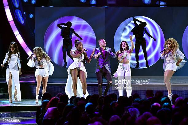 Singers Camila Cabello Ally Brooke Normani Kordei of Fith Harmony Maluma Lauren Jauregui and Dinah Jane of Fifth Harmony perform onstage during the...