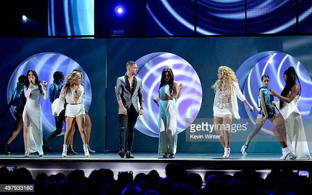 Singers Camila Cabello Ally Brooke of Fith Harmony Maluma Lauren Jauregui Dinah Jane and Normani Kordei of Fifth Harmony perform onstage during the...