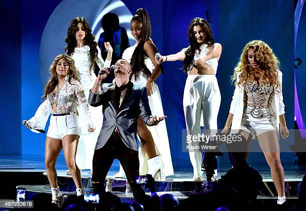 Singers Camila Cabello, Ally Brooke of Fith Harmony, Maluma, Normani Kordei, Lauren Jauregui and Dinah Jane of Fifth Harmony perform onstage during...