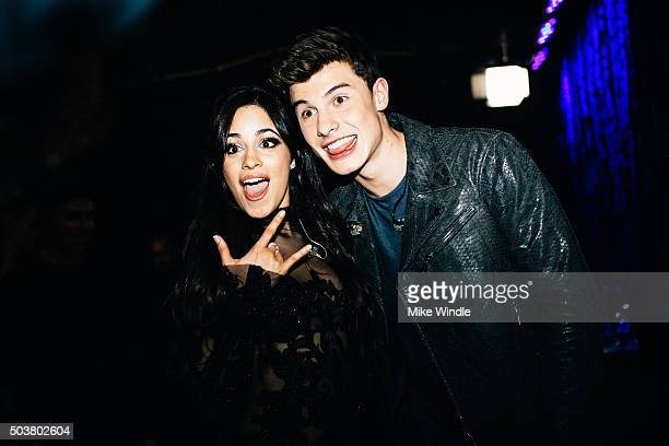 Singers Camila Cabello and Shawn Mendes attend the People's Choice Awards 2016 at Microsoft Theater on January 6, 2016 in Los Angeles, California.