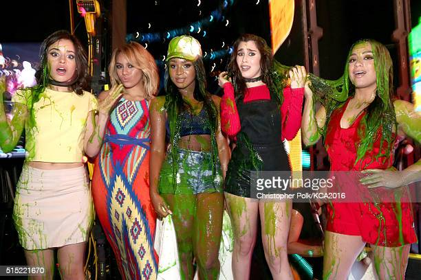 Singers Camila Cabello Dinah Jane Normani Kordei Lauren Jauregui and Ally Brooke of Fifth Harmony attend Nickelodeon's 2016 Kids' Choice Awards at...