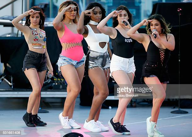 Singers Camila Cabello Dinah Jane Normani Kordei Lauren Jauregui and Ally Brooke of Fifth Harmony perform onstage during CBS RADIO's SPF at The...
