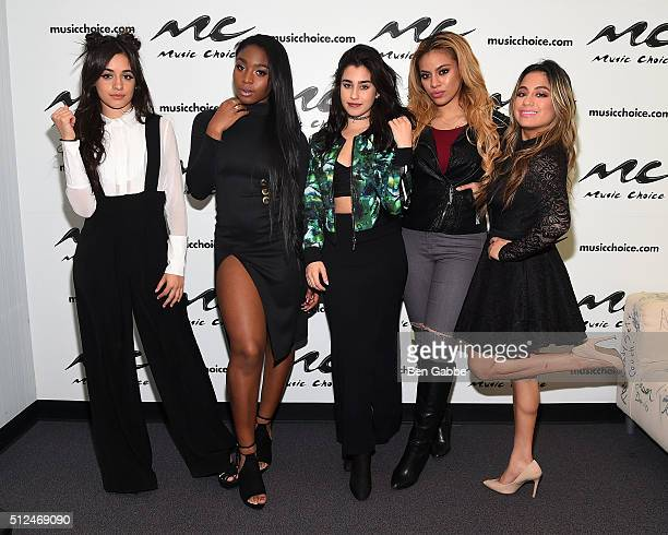 Singers Camila Cabello Normani Hamilton Lauren Jauregui DinahJane Hansen and Ally Brooke of girl group Fifth Harmony visit at Music Choice on...