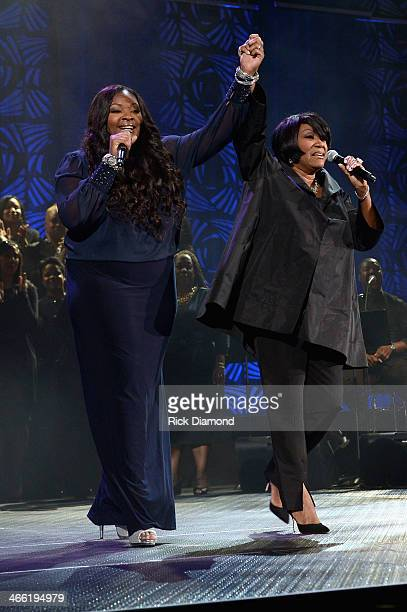 Singers Candice Glover and Patti LaBelle perform onstage at the Super Bowl Gospel Celebration 2014 at The Theater at Madison Square Garden on January...