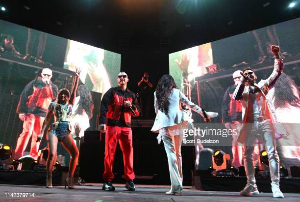Singers Cardi B DJ Snake Selena Gomez and Ozuna perform onstage on the Outdoor Stage during Weekend 1 Day 1 of the 2019 Coachella Valley Music and...