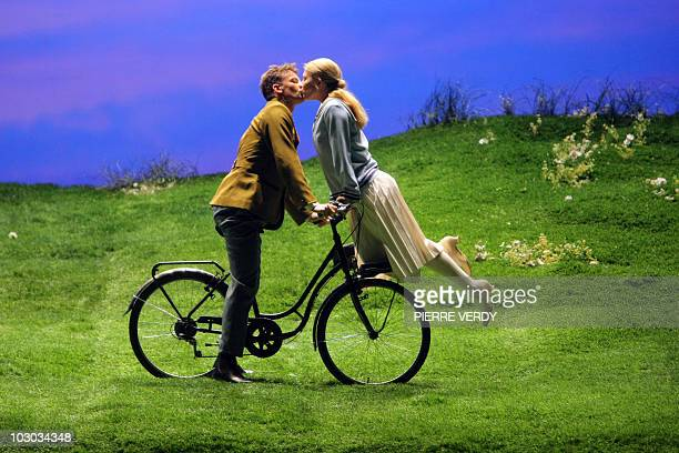 Singers Carin Gilfry and James McOranCampbell perform during a rehearsal of the musical 'The Sound of Music' directed by Emilio Sagi from Spain on...