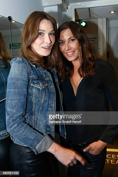 Singers Carla Bruni and Zazie attend the 'Vivement Dimanche' French TV Show at Pavillon Gabriel on September 29 2015 in Paris France