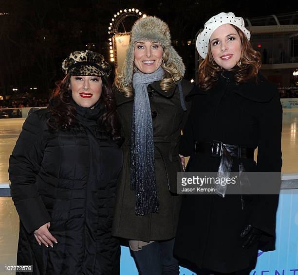 Singers Carnie Wilson Chynna Phillips and Wendy Wilson of Wilson Phillips attend the 2010 holiday tree lighting ceremony at Bryant Park on December 2...