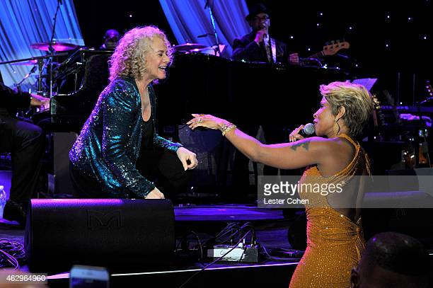 Singers Carole King and Mary J Blige onstage at the PreGRAMMY Gala and Salute To Industry Icons honoring Martin Bandier at The Beverly Hilton Hotel...