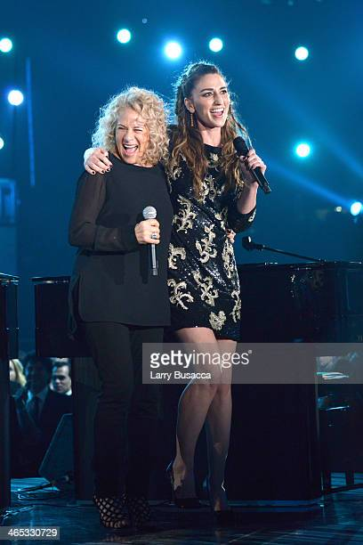 Singers Carole King and Sara Bareilles appear onstage during the 56th GRAMMY Awards at Staples Center on January 26 2014 in Los Angeles California