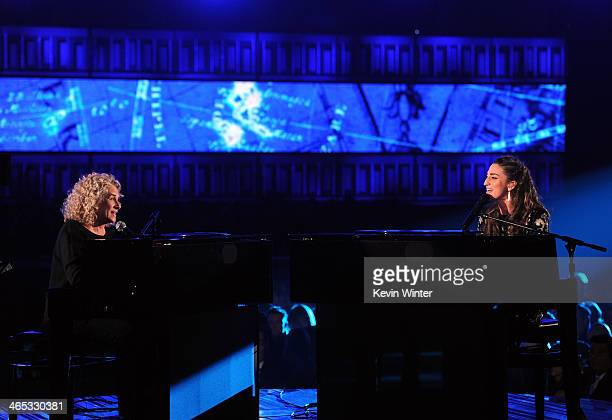Singers Carole King and Sara Sara Bareilles perform onstage during the 56th GRAMMY Awards at Staples Center on January 26 2014 in Los Angeles...