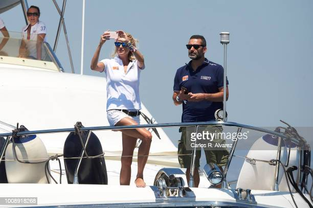 Singers Carolina Cerezuela and Jaume Anglada on board of Elecon attend the 37th Copa del Rey Mapfre Sailing Cup on August 1 2018 in Palma de Mallorca...