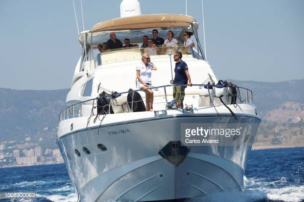 Singers Carolina Cerezuela and Jaume Anglada on board of the Elecon attend the 37th Copa del Rey Mapfre Sailing Cup on August 1 2018 in Palma de...