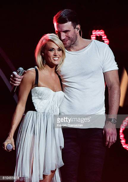 Singers Carrie Underwood and Sam Hunt perform onstage during The 58th GRAMMY Awards at Staples Center on February 15 2016 in Los Angeles California