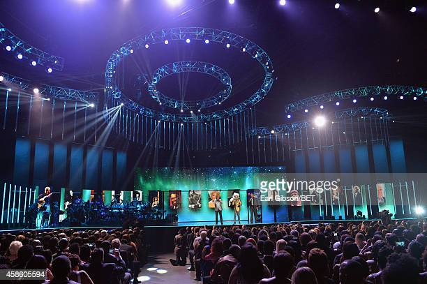 Singers Carvin Winans BeBe Winans and Marvin Winans of 3 Winans Brothers perform onstage during the 2014 Soul Train Music Awards at the Orleans Arena...