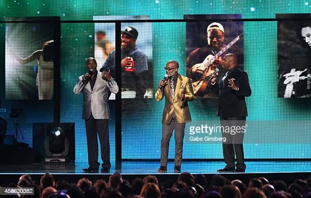 Singers Carvin Winans BeBe Winans and Marvin Winans of 3 Winans Brothers perform onstage during the 2014 Soul Train Music Awards at the Orleans...