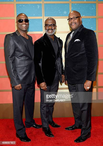 Singers Carvin Winans BeBe Winans and Marvin Winans of the 3 Winans Brothers attend the 2014 Soul Train Music Awards at the Orleans Arena on November...