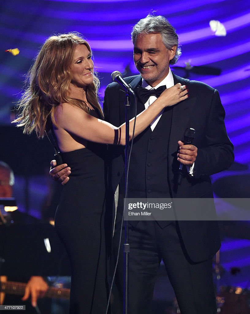 Singers Celine Dion (L) and Andrea Bocelli embrace after performing during the 19th annual Keep Memory Alive 'Power of Love Gala' benefit for the Cleveland Clinic Lou Ruvo Center for Brain Health honoring Andrea Bocelli and Veronica Bocelli at MGM Grand Garden Arena on June 13, 2015 in Las Vegas, Nevada.