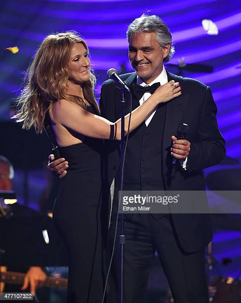 Singers Celine Dion and Andrea Bocelli embrace after performing during the 19th annual Keep Memory Alive 'Power of Love Gala' benefit for the...