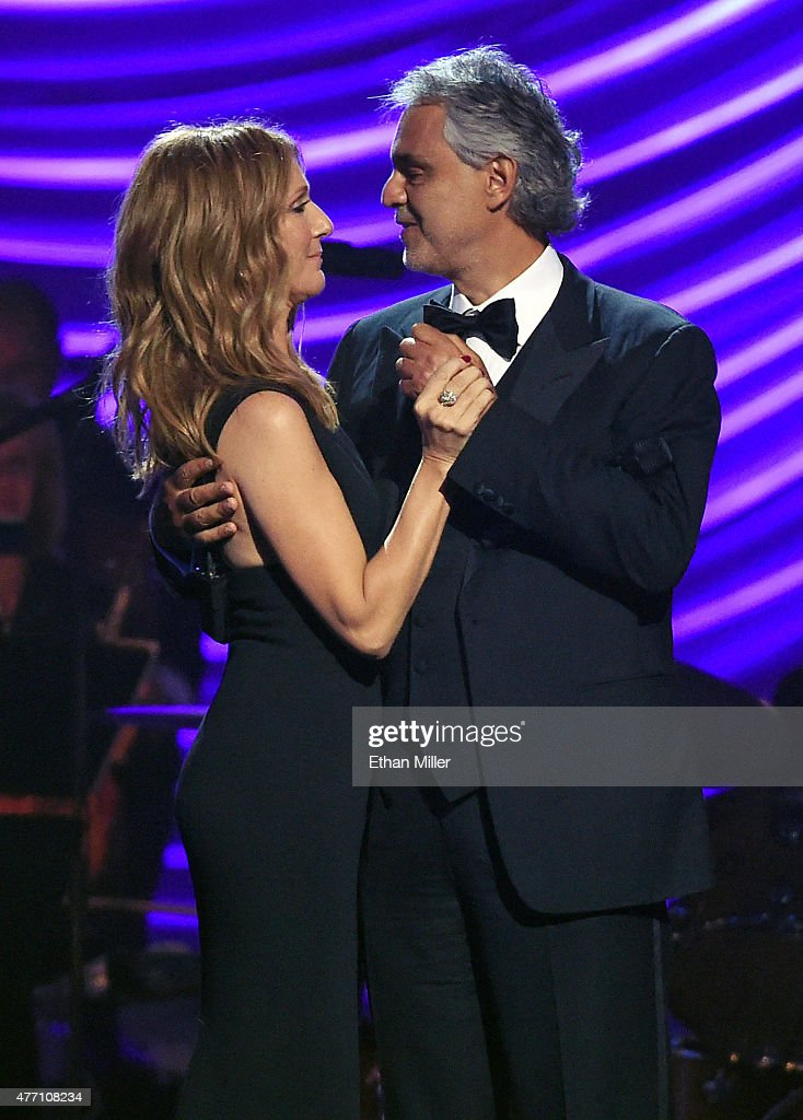 Singers Celine Dion (L) and Andrea Bocelli perform during the 19th annual Keep Memory Alive 'Power of Love Gala' benefit for the Cleveland Clinic Lou Ruvo Center for Brain Health honoring Andrea Bocelli and Veronica Bocelli at MGM Grand Garden Arena on June 13, 2015 in Las Vegas, Nevada.