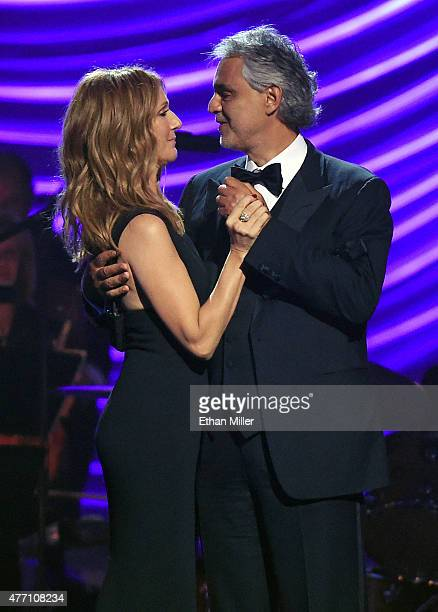 Singers Celine Dion and Andrea Bocelli perform during the 19th annual Keep Memory Alive 'Power of Love Gala' benefit for the Cleveland Clinic Lou...