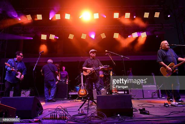Singers Cesar Rosas Louie Perez and David Hidalgo of Los Lobos perform onstage during 2015 KAABOO Del Mar at the Del Mar Fairgrounds on September 18...