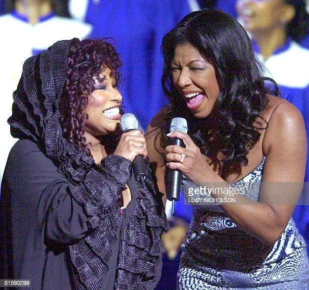 US singers Chaka Khan and Natalie Cole perform a tribute to actor Sidney Poitier at the 32nd Annual National Association for the Advancement of...