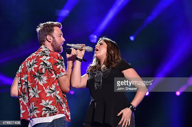 Singers Charles Kelley and Hillary Scott of Lady Antebellum perform onstage during the 2015 CMA Festival on June 12 2015 in Nashville Tennessee