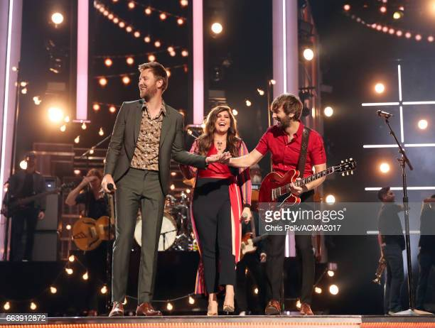 Singers Charles Kelley Hillary Scott and Dave Haywood of Lady Antebellum perform onstage during the 52nd Academy of Country Music Awards at TMobile...
