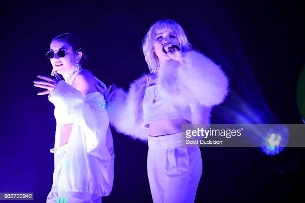 Singers Charli XCX and Carly Rae Jepsen perform onstage during Charli XCX 'Pop 2' performance at El Rey Theatre on March 15 2018 in Los Angeles...