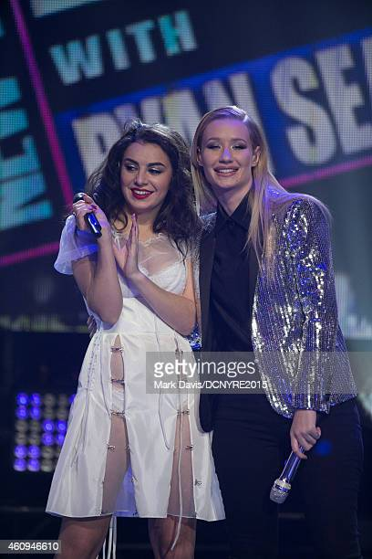 Singers Charli XCX and Iggy Azalea perform at Dick Clark's New Year's Rockin' Eve With Ryan Seacrest 2015 at CBS Television City in Los Angeles...