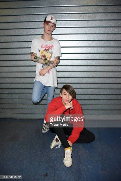 UK singers Charlie Lenehan and Leondre Devries of the duo Bars Melody during The Dome 2018 music show on November 30 2018 in Oberhausen Germany
