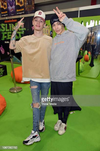 UK singers Charlie Lenehan and Leondre Devries of the duo Bars Melody attend the Nickelodeon Slimefest at Westfalenhalle on December 1 2018 in...