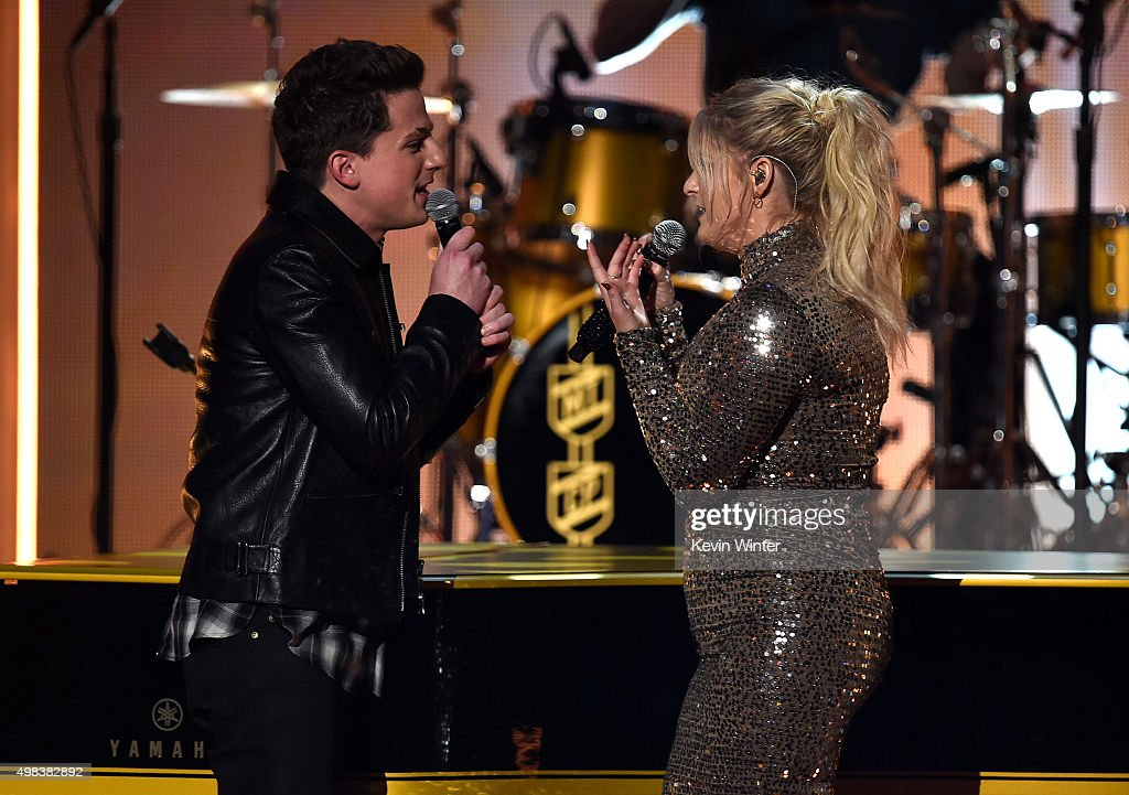 Singers Charlie Puth (L) and Meghan Trainor perform onstage during the 2015 American Music Awards at Microsoft Theater on November 22, 2015 in Los Angeles, California.