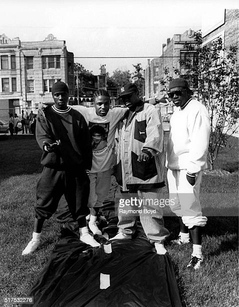 Singers Chauncey Black Teddy Riley Dave Hollister and Levi Little from BLACKstreet poses for photos at George's Music Room in Chicago Illinois in...