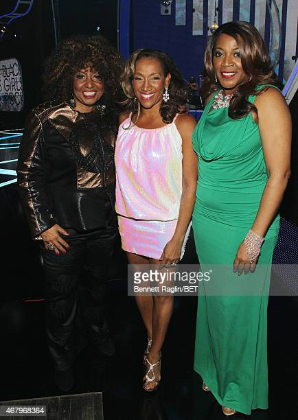 Singers Cheryl Lynn Kathy Sledge and Alicia Myers pose backstage at 'Black Girls Rock' BET Special at NJPAC – Prudential Hall on March 28 2015 in...