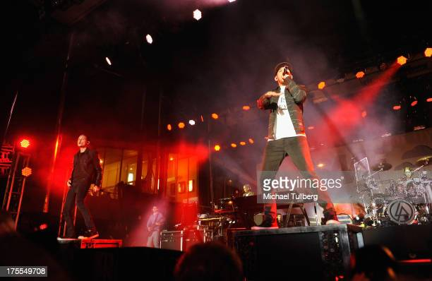 Singers Chester Bennington and Mike Shinoda of Linkin Park perform live on the third day of the 6th Annual Sunset Strip Music Festival on August 3...