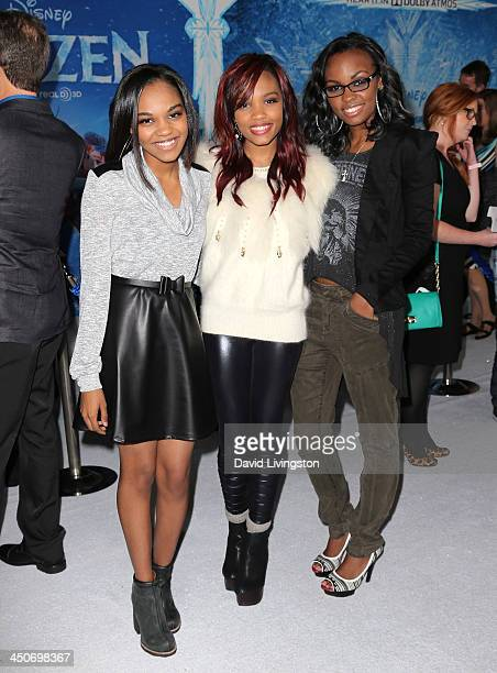 Singers China Anne McClain Lauryn Alisa McClain and Sierra Aylina McClain of the McClain Sisters attend the premiere of Walt Disney Animation...