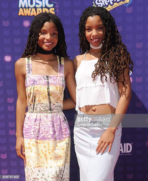 Singer's Chloe Bailey and Halle Bailey arrive at the 2016 Radio Disney Music Awards at Microsoft Theater on April 30, 2016 in Los Angeles, California.