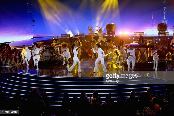 Singers Chloe x Halle perform onstage during the 2018 MTV Movie And TV Awards at Barker Hangar on June 16, 2018 in Santa Monica, California.
